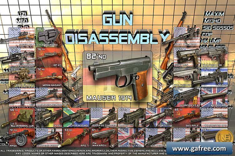 لعبة تركيب الاسلحة Gun Disassembly