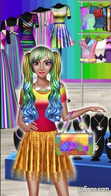تحميل لعبة فتاة الموضة للاندرويد Rainbow Girls Dress Up