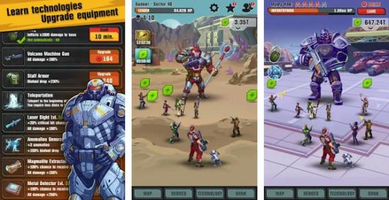 لعبة القتال بالاسلحة Сlicker idle game: Evolution Heroes 2